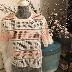 Pink and white lace striped top. NWOT